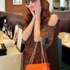 (พร้อมส่ง)กระเป๋าสะพาย ใบเล็ก น่ารัก สีส้ม สดใส สไตล์เรียบๆเก๋ๆ แบรนด์ maomao