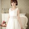 B.B.Girl เดรสเจ้าหญิงสีขาว ผ้าชีฟองเกาหลี แอบเซ็กซี่ช่วงเองด้วยผ้าโคเชลายดอกไม้
