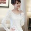 (พร้อมส่ง)เสื้อลูกไม้ เนื้อนิ่ม แขนยาว สุดน่ารัก สีขาว สไตล์เกาหลี