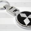 พวงกุญแจโลหะ Mitsubishi หน้าเหมือนกันสองด้าน สีดำ