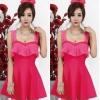 party dress467สีชมพูเข้ม