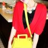 (พร้อมส่ง)กระเป๋าหนังเรียบ สีเหลืองมะนาว ทรงน่ารัก แปลกตา ขนาดกะทัดรัด แบรนด์ maomao