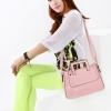 (พร้อมส่ง)กระเป๋าหนังเรียบ สีชมพูหวาน ทรงน่ารัก เก๋ไก๋ แปลกตา ขนาดกะทัดรัด แบรนด์ Axixi