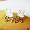 ต่างหูแฟชั่น กุหลาบขาวห้อยดอกไม้ทอง