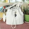 กระเป๋าสะพายสีขาวปากกระเป๋าแบบสายรูดพร้อมกระเป๋าใบเล็ก