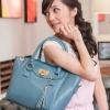 (พร้อมส่ง)กระเป๋าแฟชั่น ทรงคัพ สีฟ้าคราม สวย น่ารัก แต่งพู่+ตัวล็อครูปหัวใจ แบรนด์ PG
