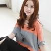(พร้อมส่ง)เสื้อยืด ผ้าคอตตอน ทรงปีกผีเสื้อ สไตล์น่ารัก สดใส สีส้ม-เทา