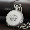 นาฬิกาพกฝาทึบสีเงิน ดีไซด์ Glamor White Crown ***พร้อมส่ง***