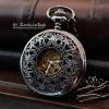 นาฬิการะบบไขลานกลไกแบบโบราณ ลวดลายฝาฉลุผีเสื้อ ตัวเรือนนาฬิกาพกสีดำด่าง