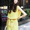 เดรส สดใส ผ้าชีฟอง แฟชั่นเกาหลี สีเหลืองมะนาว
