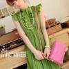 (พร้อมส่ง)เดรสน่ารัก สวยหวาน แต่งระบาย ผ้าชีฟอง กระโปรงพลีท สีเขียว