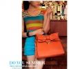 Axixibag กระเป๋าถือแฟชั่นสีส้มแต่งโบว์ใบใหญ่ แบบฝาเปิด มีสายสะพายยาว