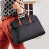 Axixibag กระเป๋าถือสีกรมทรงอ่อน มีฝาปิดด้านหน้าดีไซต์เก๋ ๆ สายจับสีน้ำตาลตัดกับกระเป๋าสีดำ