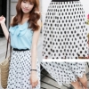 (พร้อมส่ง)กระโปรงน่ารัก ผ้าชีฟอง สีขาว ลายจุดสีดำ แฟชั่นเกาหลี