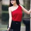 เดรสเก๋ๆ สไตล์สาวมั่น เสื้อไหล่เฉียงสีแดง+กระโปรงสีดำ
