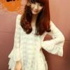 เสื้อสวยๆ แขนยาว แต่งระบาย ผ้าลูกไม้ แฟชั่นเกาหลี สีขาว
