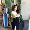 เดรสแฟชั่นเกาหลีเสื้อแขนกระดิ่งทรงสวยค่ะ มี 2 สี สีขาวตัดำ/สีดำตัดเหลืองเลมอน กระโปรงตัดเฉียงด้านหน้าไขว้กันนะคะ