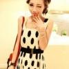 (พร้อมส่ง)เสื้อแขนกุด น่ารัก ผ้าชีฟอง อัดพลีท ลายจุด สีขาว-ดำ