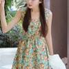 (พร้อมส่ง)เดรสน่ารัก สวยหวาน สดใส สีฟ้า ลายดอก แฟชั่นเกาหลี