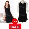 Dress070-เดรสแฟชั่นสีดำ แขนสีขาวแต่งหมุดสีทอง น่ารักๆจ้า อก 34 ((เดรสแฟชั้นพร้อมส่ง))