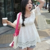 (พร้อมส่ง)เสื้อตัวยาว สุดน่ารัก ผ้าคอตตอน สีขาว จั๊มพ์อก แต่งผ้าถัก แฟชั่นเกาหลี