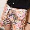 (พร้อมส่ง)กางเกงขาสั้น สวยหวาน ลายดอก โทนสีส้ม-โอรส + เข็มขัด