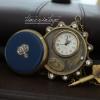 """นาฬิกาพกแบบกุญแจไขลาน ดีไซด์ """"Vintage Blue Gemstone Copper"""""""