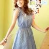 เดรส น่ารัก สดใส สีฟ้า ลายจุด ผ้าชีฟอง โตเกียวแฟชั่น
