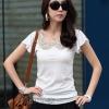 เสื้อยืดแฟชั่นสีขาวคอบัวแต่งเลื่อมที่คอสีทอง แขนพริ้วๆๆ เนื้อผ้าใส่สบาย