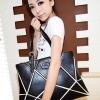 (พร้อมส่ง)กระเป๋าสะพาย สีดำ สุดชิค ตัดแต่งหนังเป็นรูปทรงเก๋ๆแปลกตา สไตล์อินเทรนด์