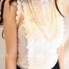 (พร้อมส่ง)เสื้อแขนกุด+สายเดี่ยว ผ้าตาข่าย แต่งลายลูกไม้ เสื้อผ้าแฟชั่น ชุดทำงาน สีขาว