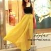 (พร้อมส่ง)ชุดเดรสยาว สวยเซ็กซี่ เสื้อกล้ามสีดำ+กระโปรงชีฟองบางสีเหลือง แฟชั่นเกาหลี