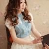 เสื้อน่ารัก ผ้ายีนส์บาง สีฟ้า แต่งลูกไม้ แขนตุ๊กตา แฟชั่นเกาหลี