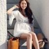 (พร้อมส่ง)เสื้อตัวยาว ผ้าคอตตอน สีขาว ปักลายดอกไม้ สีน้ำเงินคราม-ทอง แฟชั่นเกาหลี