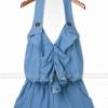 (พร้อมส่ง)จั๊มพ์สูท น่ารัก สีฟ้า ผ้าคอตตอน แต่งระบาย แฟชั่นเกาหลี