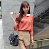 Chu ViVi เสื้อแฟชั่นคอบัวแขนสี่ส่วนพิมพ์ลายสีส้มอิฐ