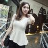 Chu ViViเสื้อผ้าแฟชั่นเกาหลี เสื้อแขนสามส่วนผ้าไหมพรมสีขาว