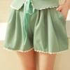 (พร้อมส่ง)กางเกงขาสั้น น่ารัก แต่งปกบัว+ริบบิ้น สีเขียวน้ำทะเล