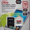 MicroSD Sandisk Ultra 16GB 80MB/s (533X)(SIS/Synnex)