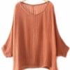 (พร้อมส่ง)เสื้อคลุม ผ้าถัก เนื้อบางเบา ซีทรู ลายทางตรง สีส้มอิฐ แฟชั่นเกาหลี