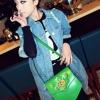 (พร้อมส่ง)กระเป๋าหนัง สีเขียว ใบเล็ก น่ารัก รูปดอกไม้ สายสะพายยาว สวยเก๋ แฟชั่นเกาหลี