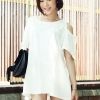 (พร้อมส่ง)มินิเดรส เว้าไหล่ สไตล์น่ารัก สีขาว เรียบๆ ผ้าโปโล เสื้อผ้าแฟชั่น สไตล์เกาหลี