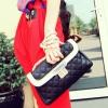 Maomaobag กระเป๋าสะพายแฟชั่น สีดำเดินลายทั้งใบ แบบฝาเปิดมีล๊อค