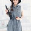 (พร้อมส่ง)ชุดเดรสยีนส์ สีอ่อน คอปก เอวจั๊มพ์ สุดน่ารัก คุณภาพดี ใส่สบาย เสื้อผ้าแฟชั่น สไตล์เกาหลี