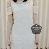Dress118 - เดรสแฟชั่น เดรสลูกไม้ เว้าแขน คอบัวสีโอรสอ่อน มีซับทั้งตัวจ้า อก 36 ((เดรสแฟชั้นพร้อมส่ง))