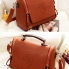 (พร้อมส่ง)กระเป๋าหนัง ทรงเก๋ๆ สีส้มอิฐ หูน้ำตาล แบรนด์ Axixi ของแท้ 100%