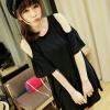 (พร้อมส่ง)ชุดเดรส เว้าไหล่ แต่งระบาย สไตล์น่ารัก สีดำ เรียบๆ เสื้อผ้าแฟชั่นเกาหลี