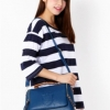 (พร้อมส่ง)กระเป๋าหนัง ทรงเก๋ๆ สีฟ้าคราม หูน้ำตาล แบรนด์ Axixi ของแท้ 100%