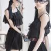 (พร้อมส่ง)เดรสสวยๆ ผ้าชีฟอง แต่งระบาย สีดำ สไตล์สาวหวาน