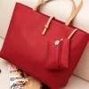 (พร้อมส่ง)กระเป๋าหนัง ใบใหญ่ สไตล์เรียบๆ สีแดง สุดฮิต มีกระเป๋าเล็กด้านใน 1 ใบ แบรนด์ Axixi
